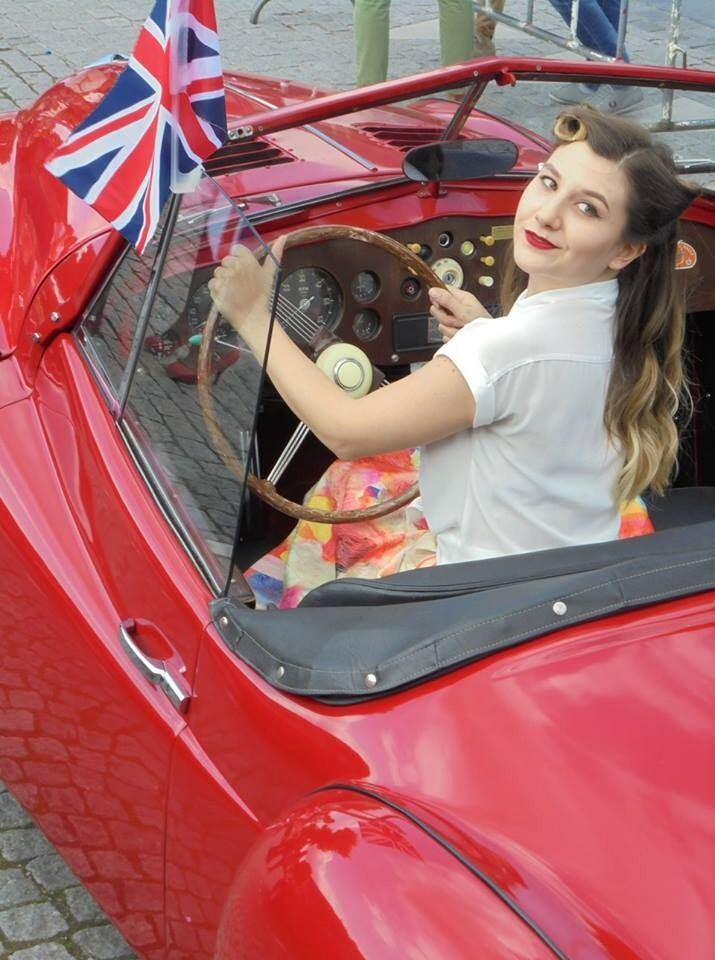 Jowett Jupiteer with pretty girl at the wheel