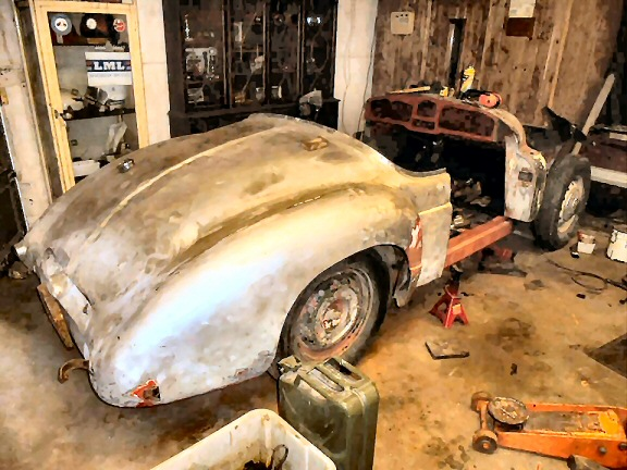 Jowett Jupiter under restoration in Belgium April 2019