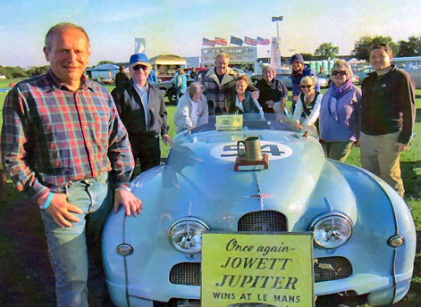 Jowett Jupiter racer Richard Gane with Trophy Silverstone