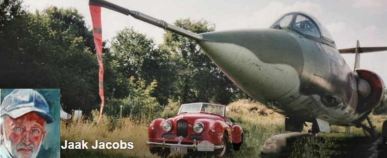 Jowett Jupiter with fighter jet plane