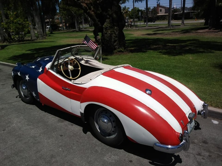Jowett Jupiter in USA's flag livery